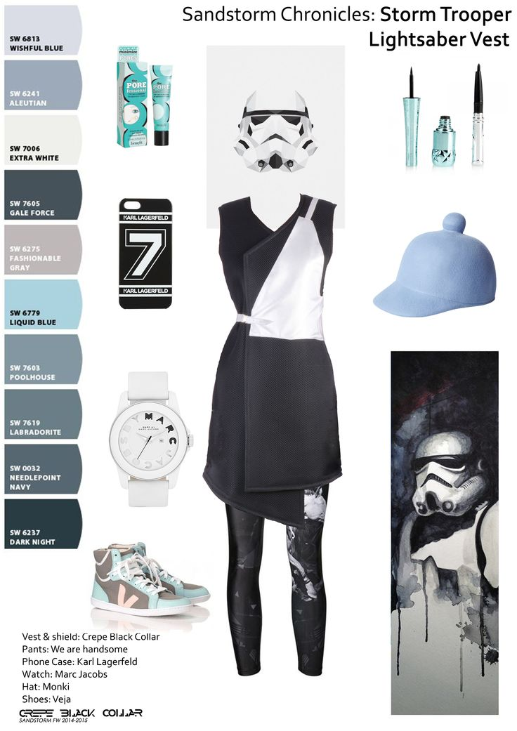 "Get the look at : https://www.facebook.com/crepe.black.collar.ro The next #Howto is: ""How to be sporty-chic"":  Tossing a pair of #sneakers with anything won't work, you need to #coordinate the outfit.  #StormTrooper is wearing vest & shield from #CrepeBlackCollar, #WeAreHandsome leggings, #Lagerfeld case, #MarcJacobs watch, #Monki hat. Print by David Kraig, poster by Tim Lautensack"