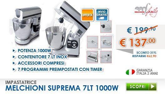 Melchioni Impastatrice Suprema scoprila qui --> http://www.freeshop.it/Impastatrice-Melchioni-Suprema.html