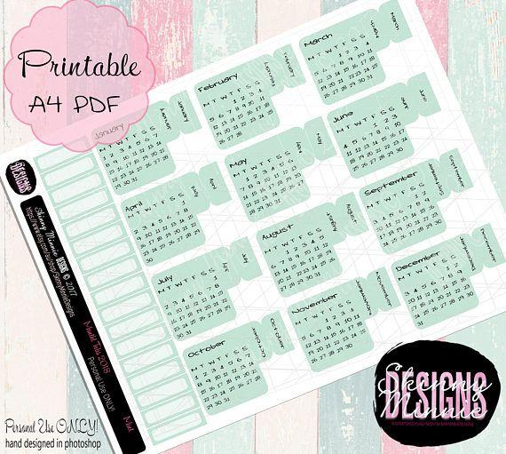 2018 Calendar Planner Month Tabs Mint Digital Download