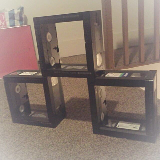 Industrial Unique Home Made VHS Tape Shelves