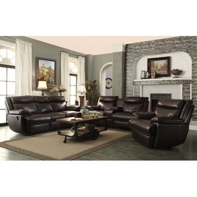 Wildon Home ® MacPherson Motion Leather Reclining Loveseat