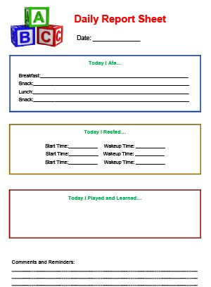 12 Best Infant, Toddler & Preschool Daily Report Templates Images
