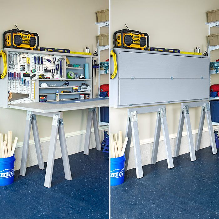 This foldable tool storage unit provides a workspace, yet takes up little room. Bifold doors drop down to form a light-duty work surface, and sawhorses serve as legs. When you're done, latch the doors back into place and tuck the sawhorses underneath. You can unfold just the top half to reach often-used tools.