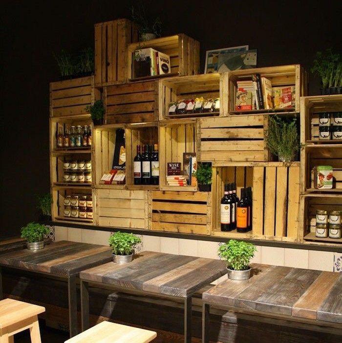 caisse en bois deco faire tag re avec vieilles caisses de vin caissettes de pommes cagettes. Black Bedroom Furniture Sets. Home Design Ideas