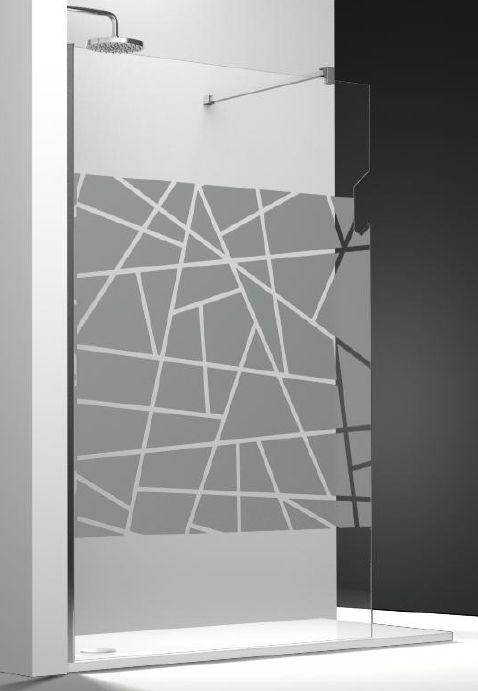 Paroi de douche fixe one verre transparent securit 8 mm anticalcaire avec sablage et porte serviette