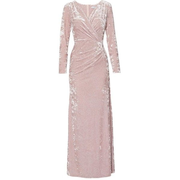Gina Bacconi Odette Crushed Velvet Maxi Dress (1,265 MYR) ❤ liked on Polyvore featuring dresses, gowns, long sleeve wrap dress, pink long sleeve dress, long sleeve evening gowns, long sleeve gowns and pink ball gown