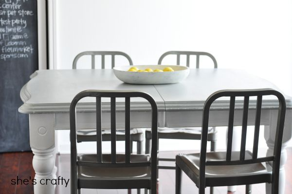 She's crafty: Grey and White painted kitchen table...great instructions!
