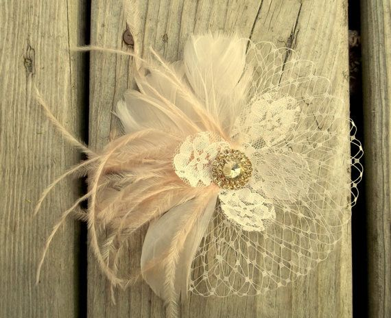 Wedding Hair Facsinator Bridal Facsinator Feather by kathyjohnson3