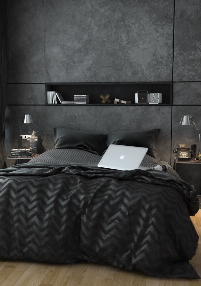 This bedroom has a very masculine yet high end feel to it with the horizontal lines and vertical creating; an atmosphere which is comforting, yet sophisticated. Love the texture and patterns provided by the throw. The built in shelf is very practical - the floor boards creating a lovely contrast against the dark wall.