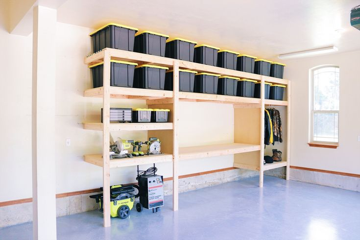 Garage storage shelves diy The Ultimate Garage Storage / Workbench Solution. By: Mike Montgomery Garage Organization Tips, Garage Storage Cabinets, Diy Garage Shelves, Workbench Organization, Heavy Duty Garage Shelving, Workshop Organization, Cabinet Storage, Mike Montgomery, Billy Regal