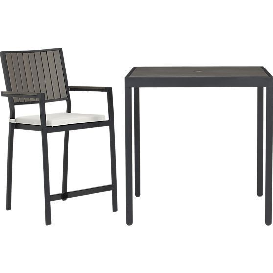 Alfresco Grey High Dining Table in Outdoor Dining Tables | Crate and Barrel got this for my patio today