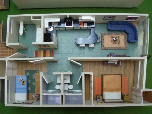 Apartamento de interes social maquetas pinterest for Casas y sus interiores