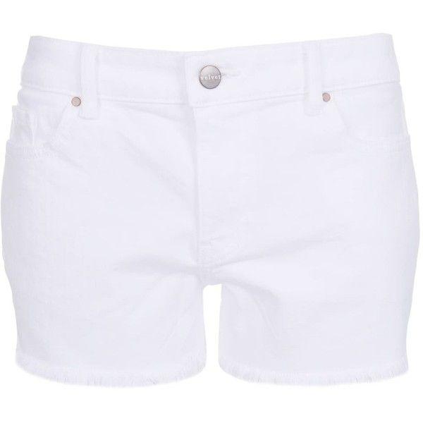 Velvet by Graham & Spencer Cindy White Denim Shorts (3.590.105 IDR) ❤ liked on Polyvore featuring shorts, white, white shorts, white jean shorts, short jean shorts, short denim shorts and white denim shorts