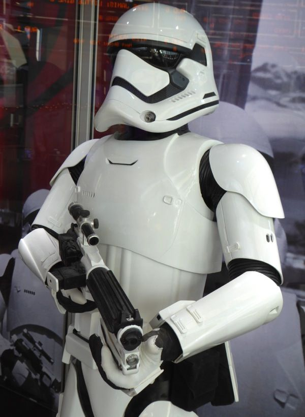Star Wars: The Force Awakens Stormtrooper costume and blaster