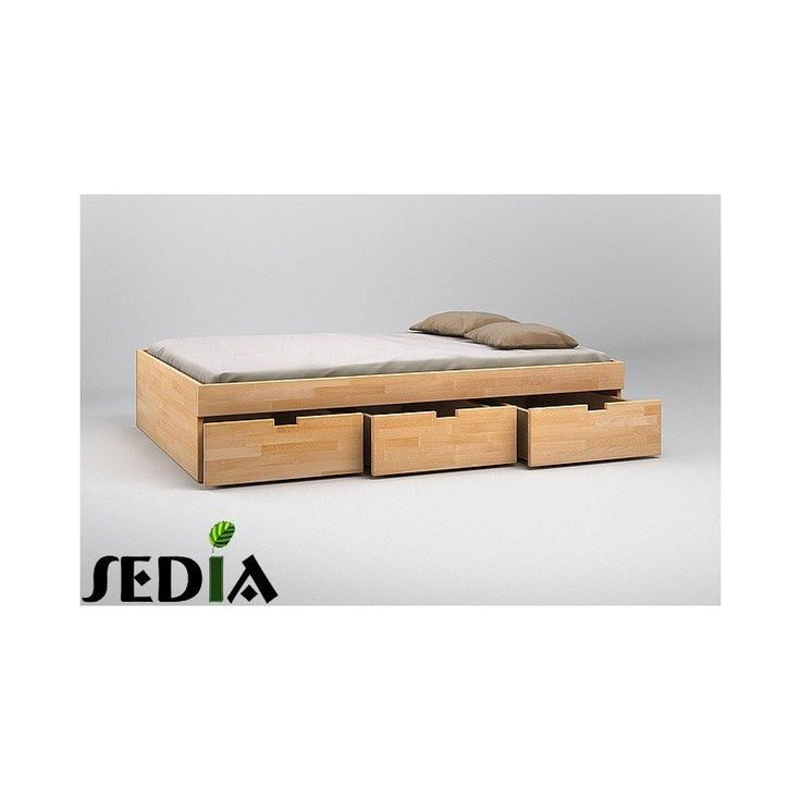 Łóżko bukowe z szufladami do sypialni - Turkus