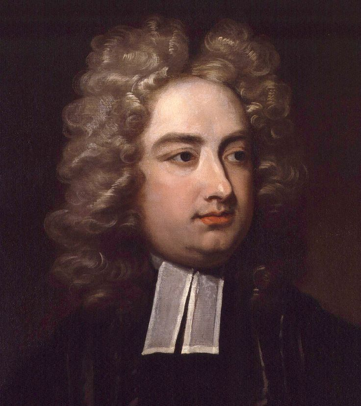 Jonathan Swift (1667-1745) was an Anglo-Irish satirist, essayist, political pamphleteer (first for the Whigs, then for the Tories), poet and cleric who became Dean of St Patrick's Cathedral, Dublin. He is remembered for Gulliver's Travels.  Portrait by Charles Jervas.