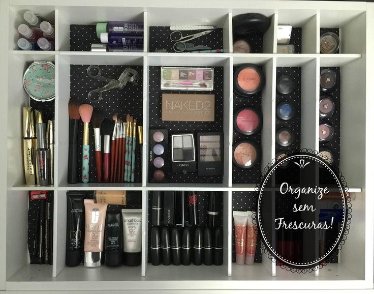 Transformação e organização da minha gaveta de maquiagem, óculos e acess...