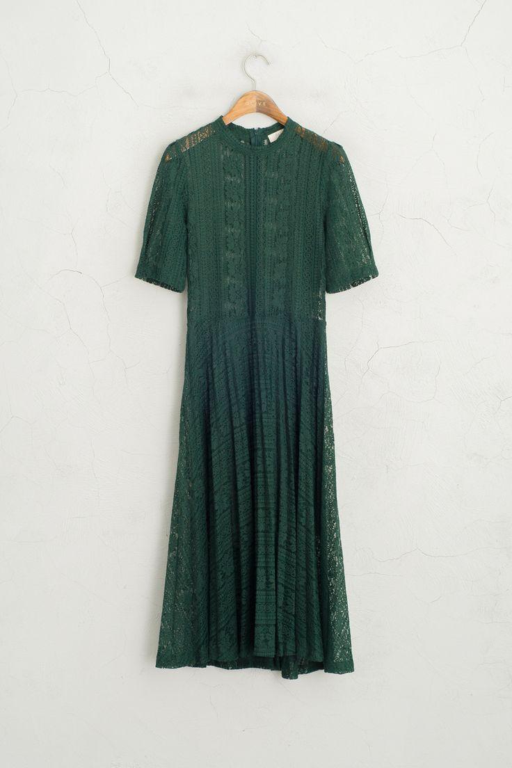 Olive - High Neck Whole Lace Dress, Khaki, £79.00…