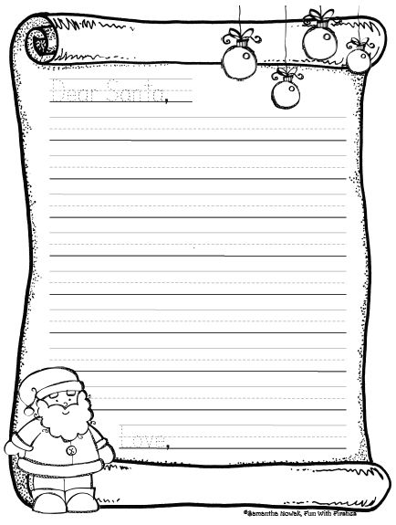 Santa Letter Template Black And White. Template Printable Santa ...  Christmas List To Santa Template