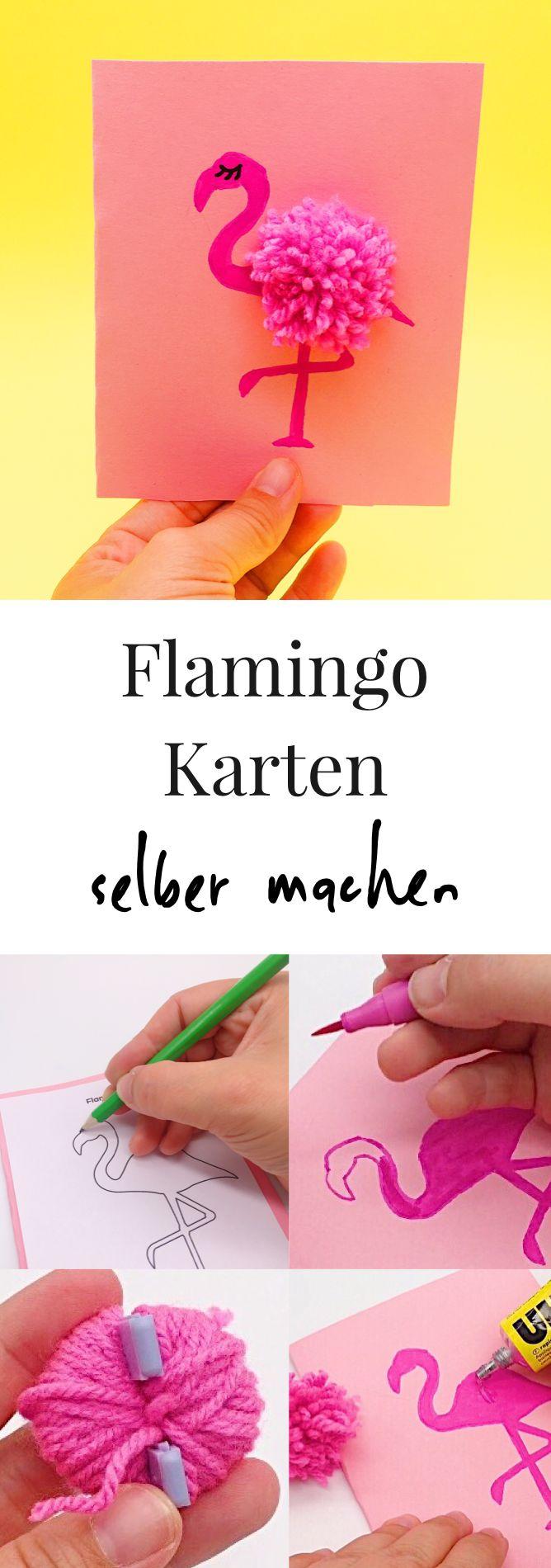 DIY Deko und Bastel Ideen. Karten mit Flamingos selber basteln. So macht Ihr Pompoms ganz einfach selber. Pompons mit Pompom Maker selber machen.