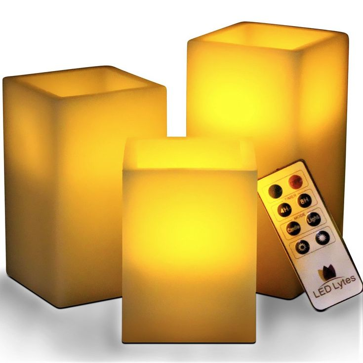 Flameless square wax candles with remote and timer set of