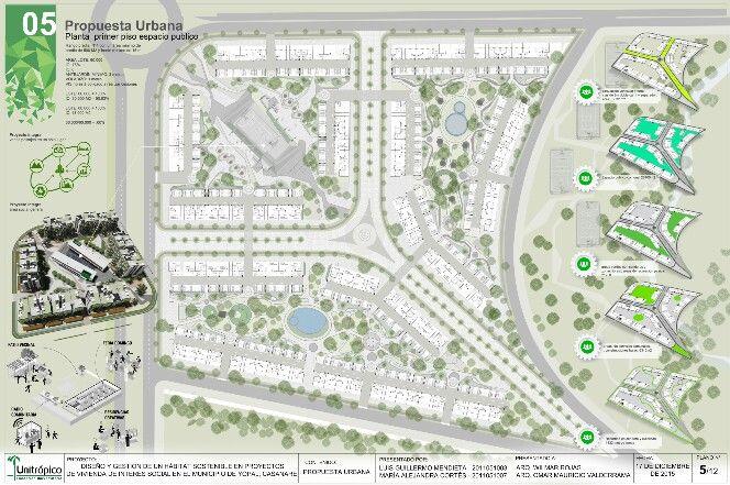 Propuesta desarrollo urbano. Primer piso con vinculación al espacio público.