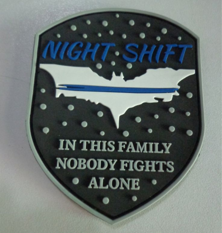 Night Shift Thin Blue Line Dark Knight PVC Morale Patch by Patches4You on Etsy
