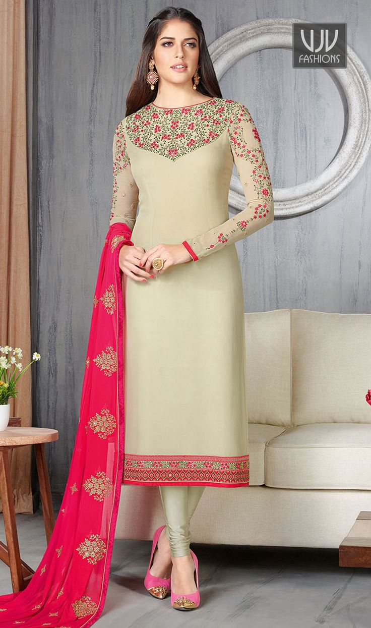 Imposing Cream Resham Work Churidar Designer Suit  Attract compliments by this cream georgette churidar designer suit. The embroidered and resham work appears to be like chic and ideally suited for festival and party.