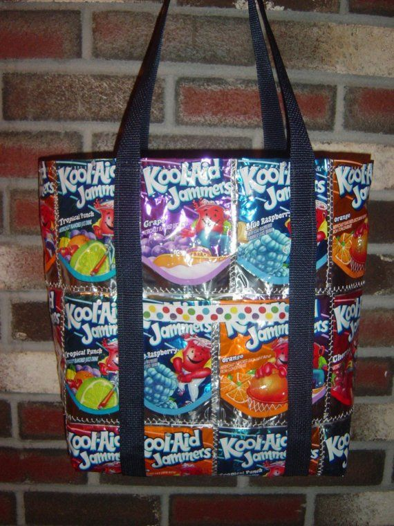 Cool bag made out of juice pouches, always wanted to do this