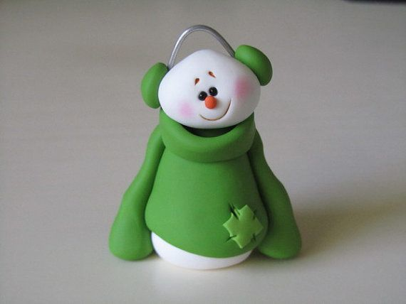 Polymer Clay Snowman with Sweater by ClayPeeps on Etsy, $9.50