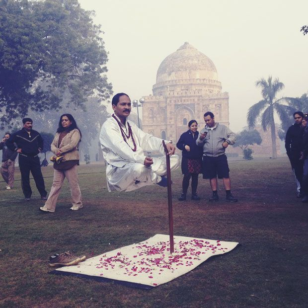 Deepak Sharma, claiming to use magic, appears to levitate at Lodhi gardens in Delhi, India