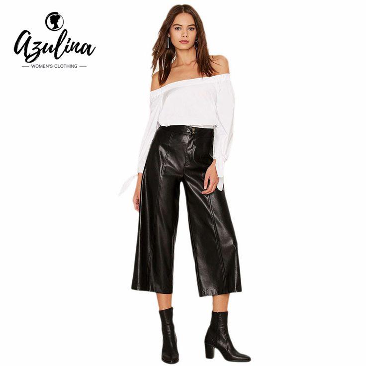AZULINA Casual Leather Pants Women Straight Wide Leg Pants Black Loose Straight Trousers High Waist PU Leather Pants Capris