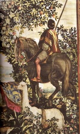 O Índio à Cavalo ou O Cavalo Malhado Autor do modelo: Albert Eckhout (c.1610-1665) Tapeçaria - Baixo liço - Lã e seda - Ateliê Jean Mozin 2º tapeçaria - 1º guarnição - Tecelagem entre 12 de julho de 1689 e o 2º quarto de 1690 Altura 4,75 m; comprimento 3,63  Coleção Mobiliário Nacional