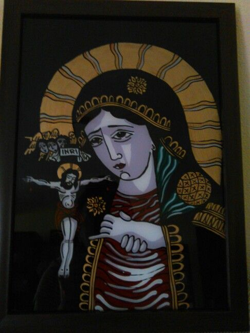 Ortodox painted icon on glass - The holy Mother's pray