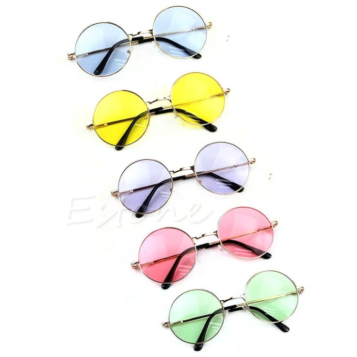 New Retro Women Men Plastic Frame Colorful Lens Sunglasses Eyewear Round Glasses Beauty Set -- Click the VISIT button to view the details