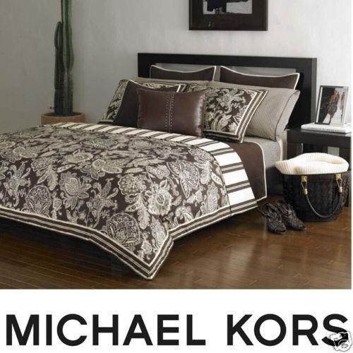 Michael Kors Taos Paisley Comforter Set Queen Brown New