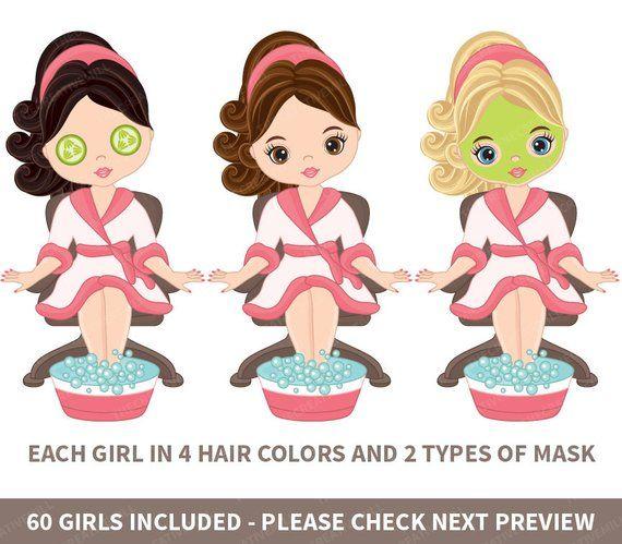 60 Spa Girls Clipart Vector Spa Girl Spa Party Clipart Spa Etsy Spa Girl Girl Spa Party Spa Party
