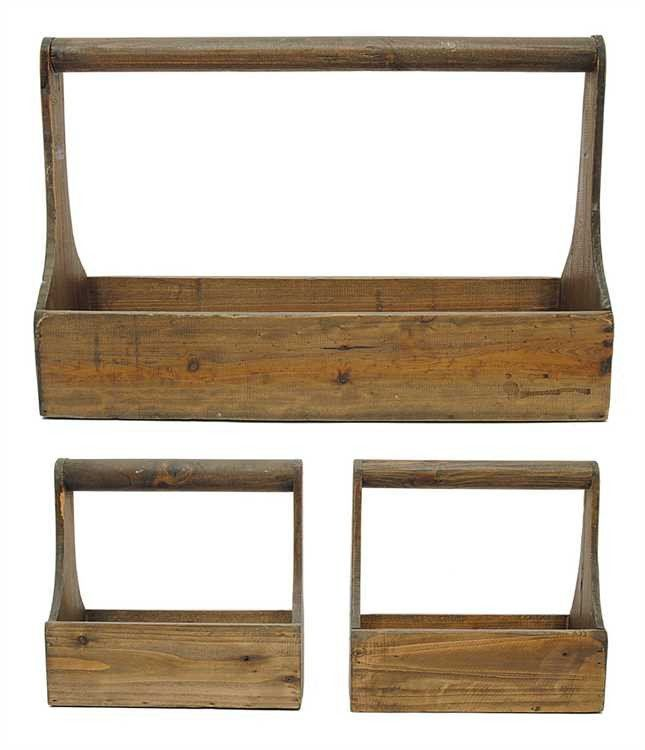 Wood Planter Baskets, Set of 3