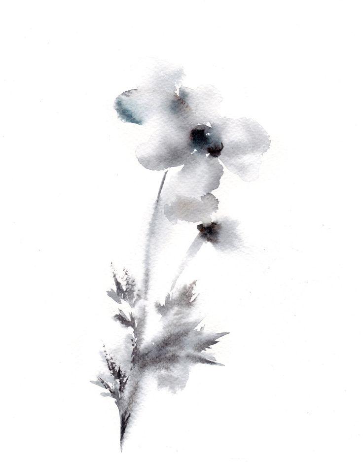 Minimalist Flowers Painting Art Print, Grey Floral Modern Watercolour Art by CanotStopPrints on Etsy https://www.etsy.com/listing/234479422/minimalist-flowers-painting-art-print