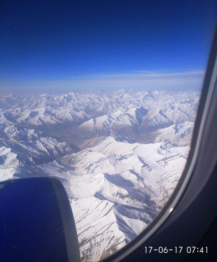 Panoramic Himalayan ranges as seen from the aircraft