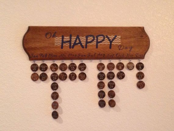 Oh Happy Day Birthday Calendar board by OReillyOriginals on Etsy