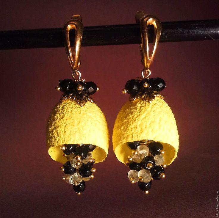 Серьги длинные с натуральными камнями и коконами шелкопряда (Жёлтые) - серьги с цитрином натур