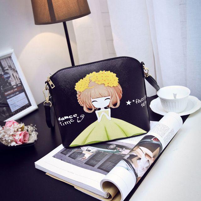Cuero de LA PU de las mujeres bolsos de impresión de la historieta bolsas de hombro femenino pequeñas bolsas del teléfono bolsos mujeres bolsas feminina para niñas