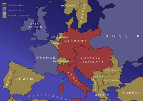 By 1907, the great powers were divided into two alliance systems. Germany, Austria-Hungary, and Italy were in the Triple Alliance; Britain, Russia, and France had the Triple Entente.