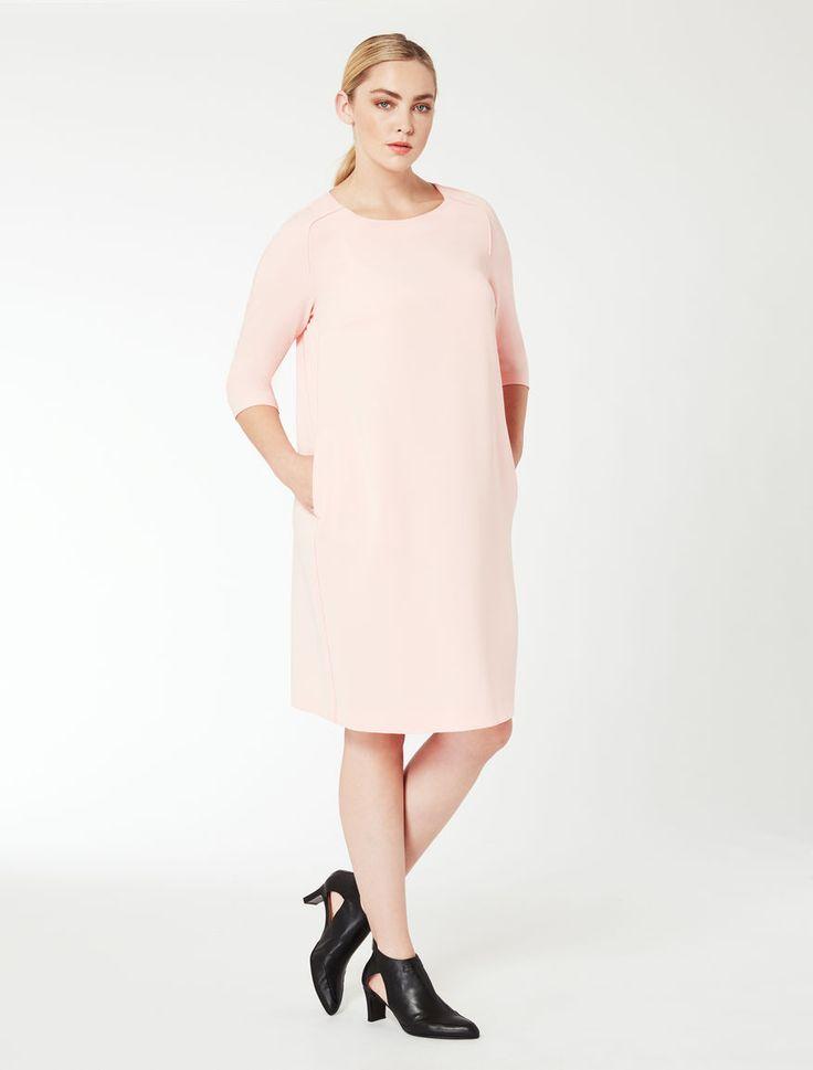 Marina Rinaldi DAVOS rosa: Abito linea diritta con tasche.