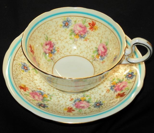AYNSLEY ENGLAND PINK ROSE Cream TEA CUP AND SAUCER