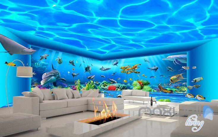 3D Auquarium Ansicht Ray Fish Gesamter Raum Tapete Fototapete Kunstdrucke IDCQW-000171