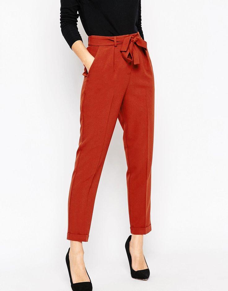 ASOS - Pantalon carotte tissé avec ceinture obi