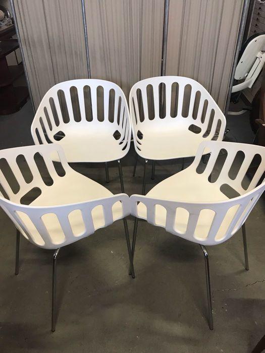 """Alessandro Busana Design voor Gaber - 4 'Mand Chair' zetels  Mand stoel is één van de meest veelzijdige Gaber collecties.Het is dat een kleine fauteuil kenmerkt zich door een elegante grafische compositie waardoor het rijk en etherische op hetzelfde moment.Mand stoel is geïnspireerd op de traditionele rotan containers een comfortabele """"container waarop je kunt zitten"""".Een container staat sterk karakteriseren de omgeving eromheen.Mand stoel kan worden gebruikt zowel binnen als buiten uit de…"""