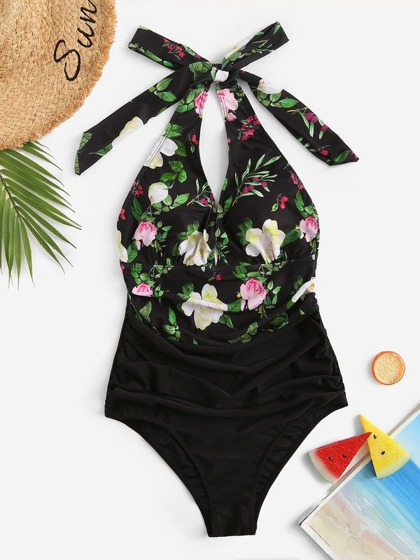 ec76f8aaa7385 #ad Plus Random Floral Ruched One Piece Swim. Price: $14.00. Multicolor  Polyester Floral One Pieces & Monokinis Knot Plus Size Swimwear.